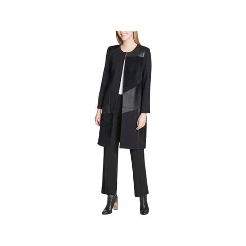 Calvin Klein Womens Plus Long Coat Winter Faux Suede