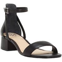 Vince Camuto Women's Shetana Block Heel Sandal Black Baby Sheep Leather
