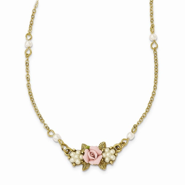 Goldtone Simulated Pearl Porcelain Flower Necklace - 16in