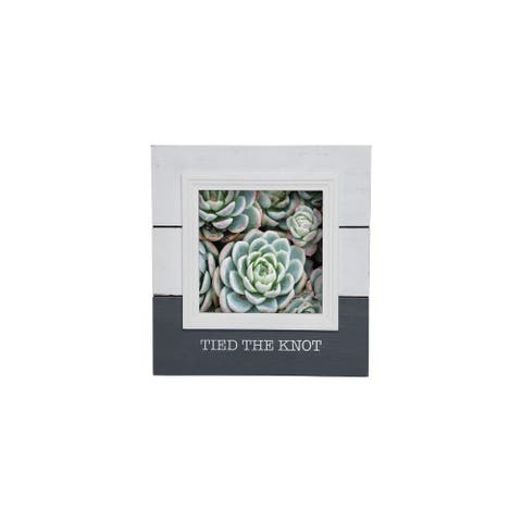 """Foreside Home & Garden White and Gray """"Tied The Knot"""" 5 x 5 inch Decorative Wood Picture Frame"""