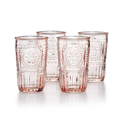 Bormioli Rocco Romantic Glass Drinking Tumbler Victorian Inspired 10.25 Oz Set Of 4 - Cotton Candy Pink - Cotton Candy Pink