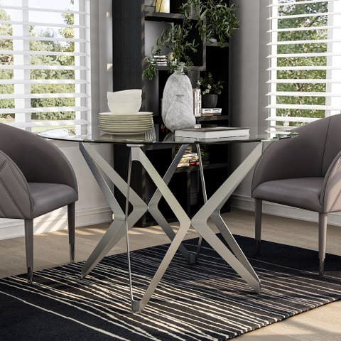 Furniture of America Wilch Glam Champagne Round Dining Table
