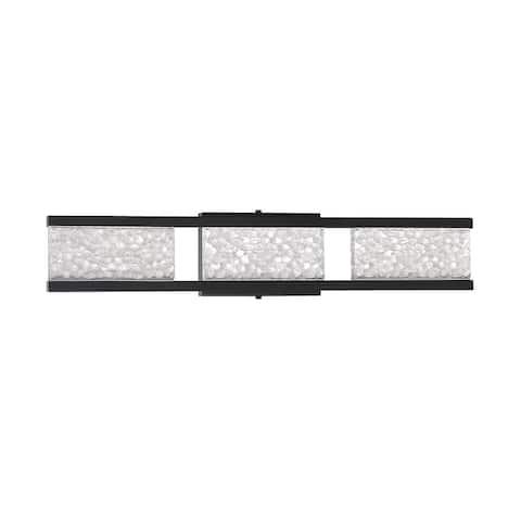 Callavio 3-Light-LED Black Vanity Light with Glass Shade
