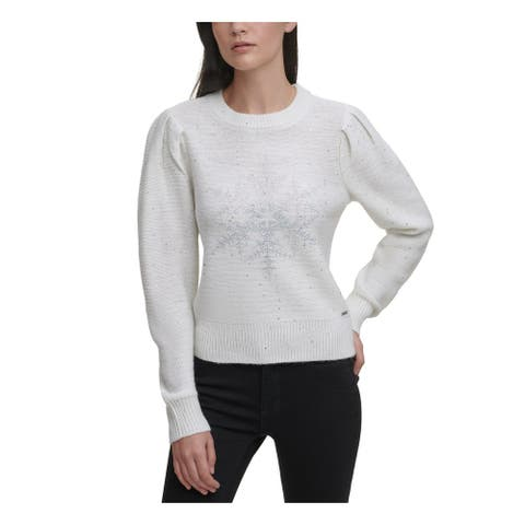 DKNY Womens Ivory Sequined Long Sleeve Crew Neck Sweater Size S
