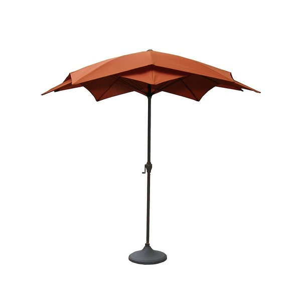 8.2' Outdoor Patio Lotus Umbrella with Hand Crank - Terracotta
