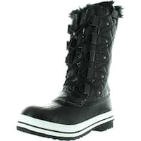 Nature Breeze Frost-03 Women's Lace Up Waterproof Quilted Mid Calf Weather Snow Boots - Black