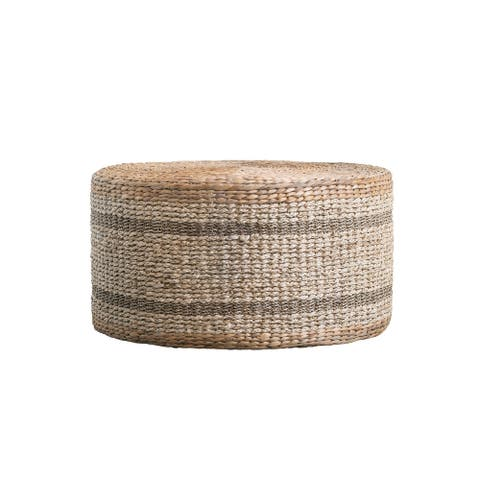Striped Round Water Hyacinth & Seagrass Ottoman or Table
