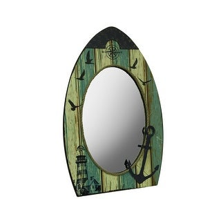 Large Boat Shaped Nautical Wall Mirror w/Harbor Motif - Multicolored