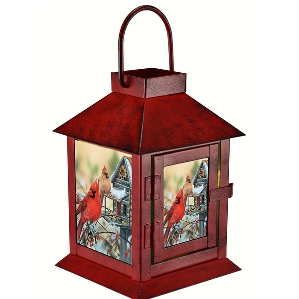 """6.4"""" Red and Brown Rustic Cardinals LED Lantern – Battery Operated - N/A"""