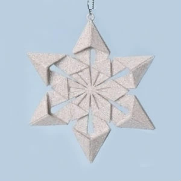 "4"" Holy Night Origami Style Star Point Glittered Snowflake Christmas Ornament"