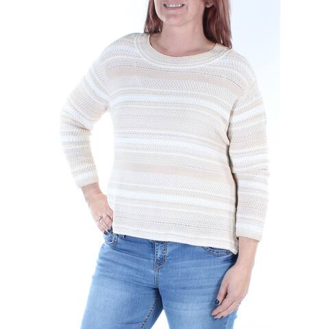 RACHEL ROY Womens Cream Eyelet W/o Cami 3/4 Sleeve Jewel Neck Sweater Size: L