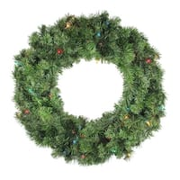 "24"" Pre-Lit Canadian Pine Artificial Christmas Wreath - Multi Lights - green"