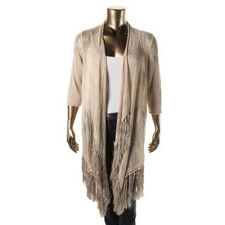 Nic + Zoe Womens Plus Linen Open Front Cardigan Sweater