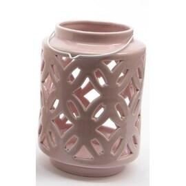 "7"" City Chic Pastel Pink Floral Cut-Out Porcelain Tea Light Candle Holder"