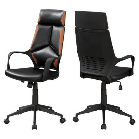 """Offex Black and Brown Leather-Look High Back Executive Office Chair - 25""""x 24.5""""x 45.75"""""""