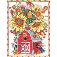 """9""""X12"""" 14 Count - Barn Birdhouse Bouquet Counted Cross Stitch Kit"""