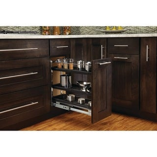 """Rev-A-Shelf 548-BC-8C 548 Series 7.75"""" Wide Three Tier Pull Out Base Organizer with Adjustable Shelves - Black - N/A"""