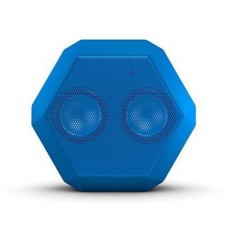 Boombotix - Boombot REX 2.0, Wireless Ultraportable Weatherproof Bluetooth Speaker, Woodgrain - Pacific Blue