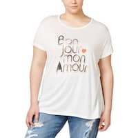Rachel Rachel Roy Womens Plus Graphic T-Shirt French Oversize