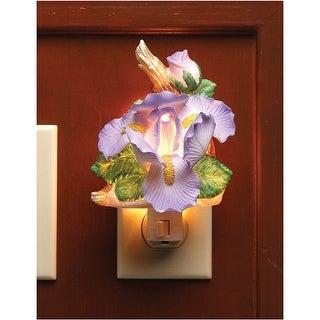 "Cosmos Bearded Iris Porcelain Night Light - Translucent Porcelain Flower, 6 1/4"" - Purple - 3 in. x 6.25 in. x 2 in."