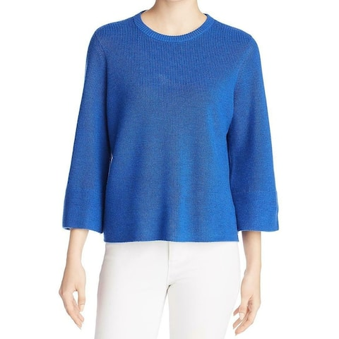 Eileen Fisher Womens Sweater Blue Large L Flared Sleeve Knit Crewneck