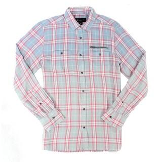 INC NEW Blue Pink Mens Size Large L Ombre Plaid Button Down Shirt