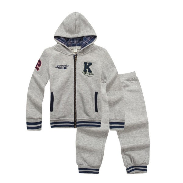 "Richie House Baby Boys Grey ""Sport Rules Kinstone"" Sweats Hoodie Pant Set 6M"