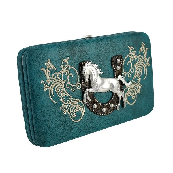 Western Hard Wallet with Horseshoe and Wild Stallion