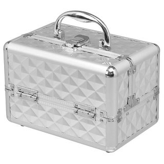 Gymax Makeup Organizer Cosmetic Case with Extendable Trays And Mirror Silver