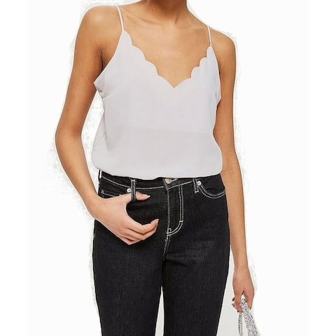 TopShop Womens Cami Top Light Scallop-Trim Solid Seamed