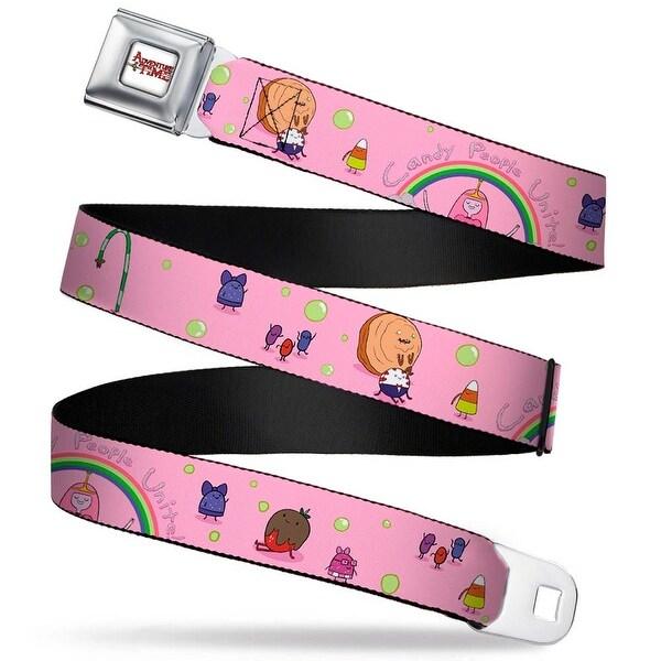 Adventure Time Logo White Full Color Princess Bubblegum Candy People Unite! Seatbelt Belt