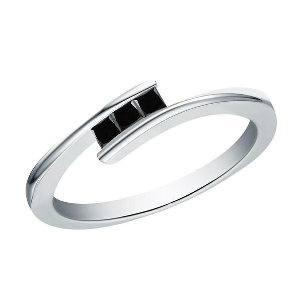 Prism Jewel 0.20Ct Princess Cut 2.00MM Black Diamond 3-Stone Ring