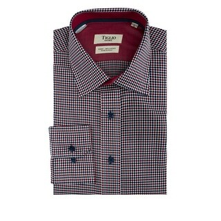 White with Red and Navy Blue Polka-Dot Pattern Modern Fit Sport Shirt by Tiglio Sport
