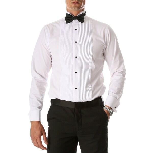 Mens Max Regular Fit Wing Tip Collar Pleated Tuxedo Shirt