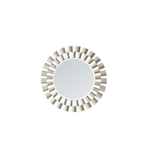 "Perugia 24"" Circle Bathroom/Vanity Brushed Silver framed Wall Mirror"