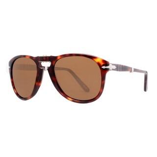 PERSOL Oval PO 0714 Men's 24/57 Havana Brown Polarized Sunglasses - 52mm-21mm-140mm