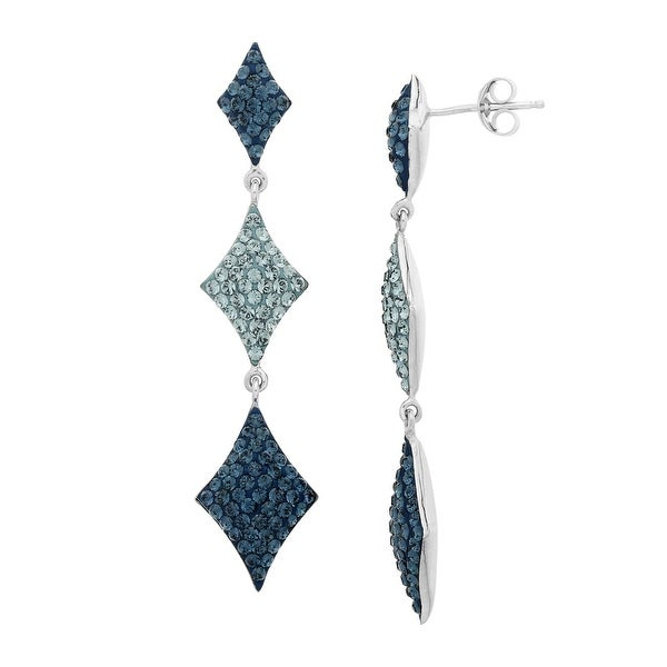 Crystaluxe Triple Drop Earrings with Blue Swarovski Crystals in Sterling Silver
