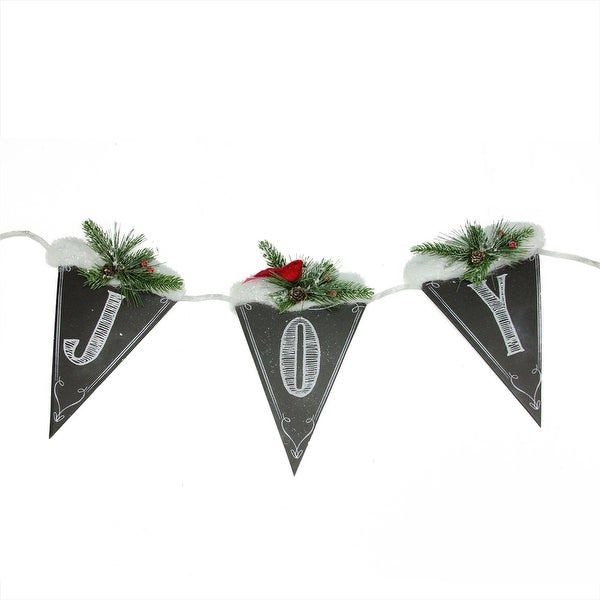 "32"" Black and White Chalkboard Style Snow and Pine ""Joy"" Christmas Banner"