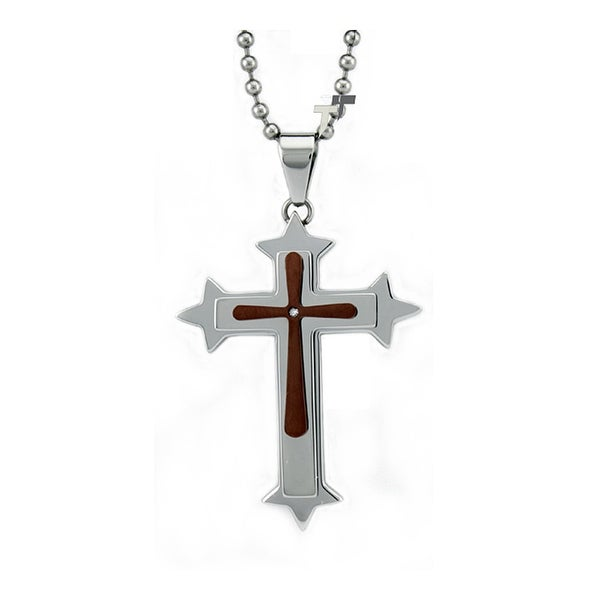 Two-Tone Stainless Steel Cross Pendant - 24 inches
