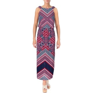 Sangria Womens Maxi Dress Printed Blouson