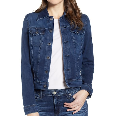 AG Womens Robyn Denim Jacket Pinnacle Blue Size XS Button Front Cropped