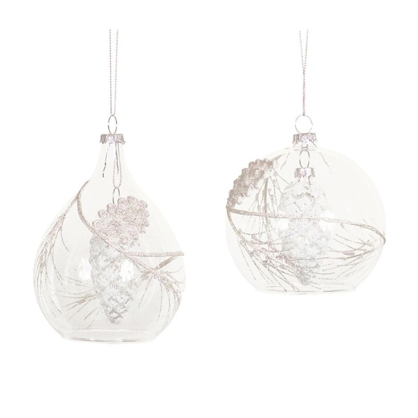 """Pack of 6 Clear Glass Pine Cone Christmas Ornaments 4"""""""