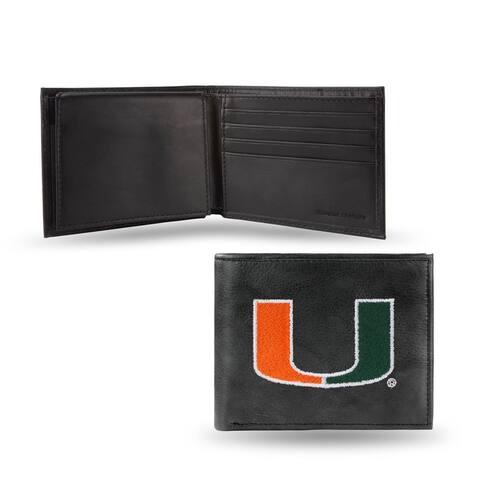 "4"" Black and Orange College Miami Hurricanes Embroidered Billfold Wallet"