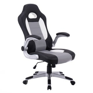 Costway PU Leather Executive Racing Style Bucket Seat Chair Sporty Office Desk Chair