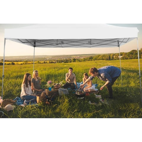 PHIVILLA 10' x 15' Straight Leg Pop Up Canopy Tent Instant Commercial Canopy for Backyard, Party, Event, Home, Garden,White