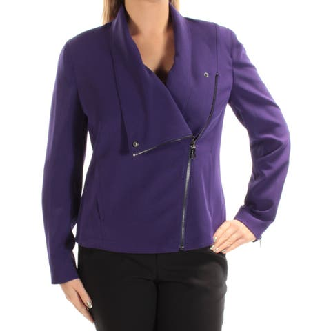 ANNE KLEIN Womens Purple Motorcycle Wear To Work Jacket Size: 12