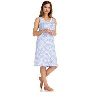 Body Touch Women's Plus Size Button Front Nightgown
