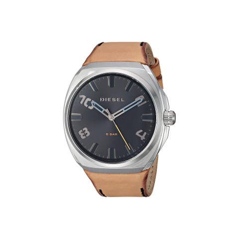Diesel Men's DZ1883 Stigg Silver-Tone Stainless Steel Diel And Brown Leather - 1 Size