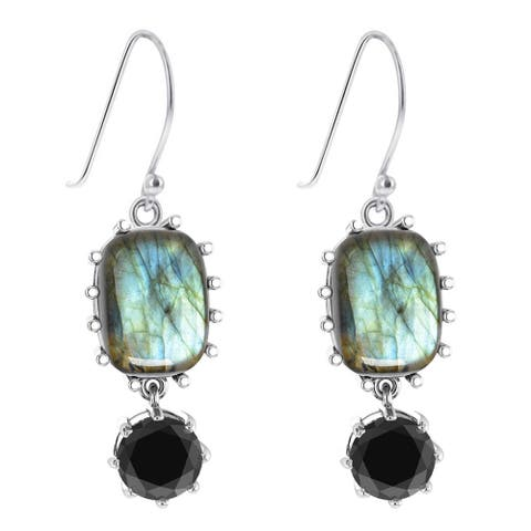 Sterling Silver with Natural Labradorite and Black Spinel Drop Earring