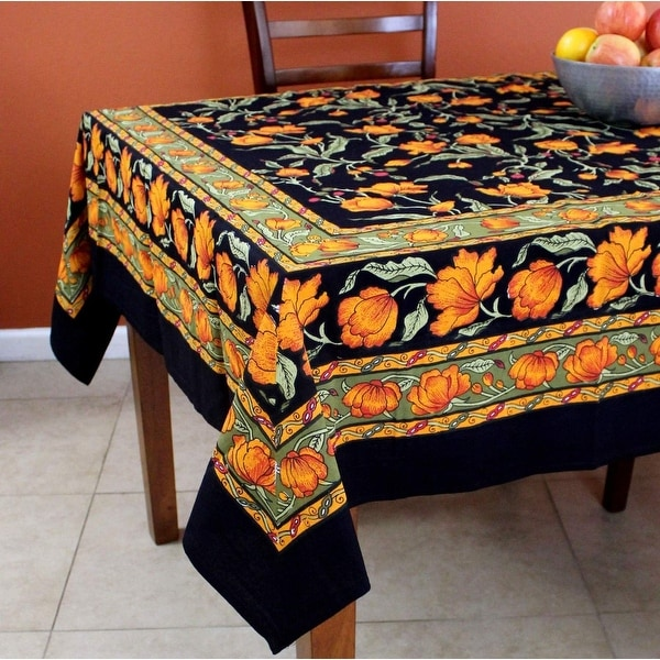 Charmant French Floral Print Cotton Tablecloth For Square Tables 60 X 60 Inches  Black Blue Green Amber